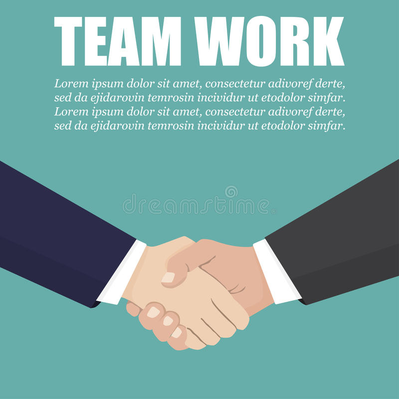 Χειραψία δύο επιχειρηματιών σε ένα επίπεδο σχέδιο εργασία ομάδων ελεύθερη απεικόνιση δικαιώματος