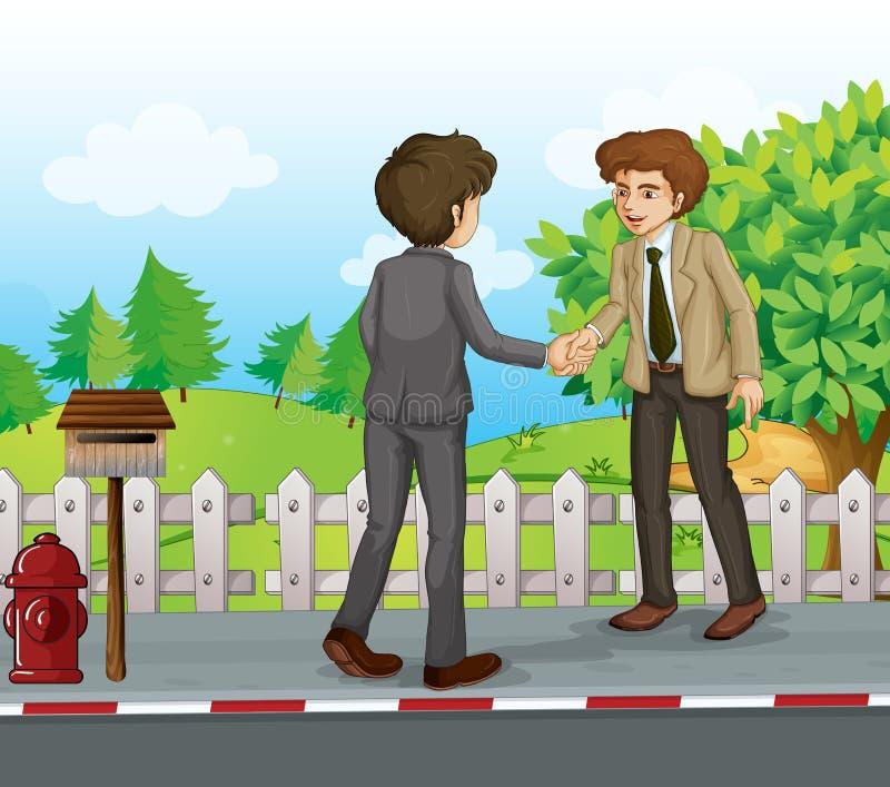 Χειραψία δύο επιχειρηματιών στην οδό ελεύθερη απεικόνιση δικαιώματος