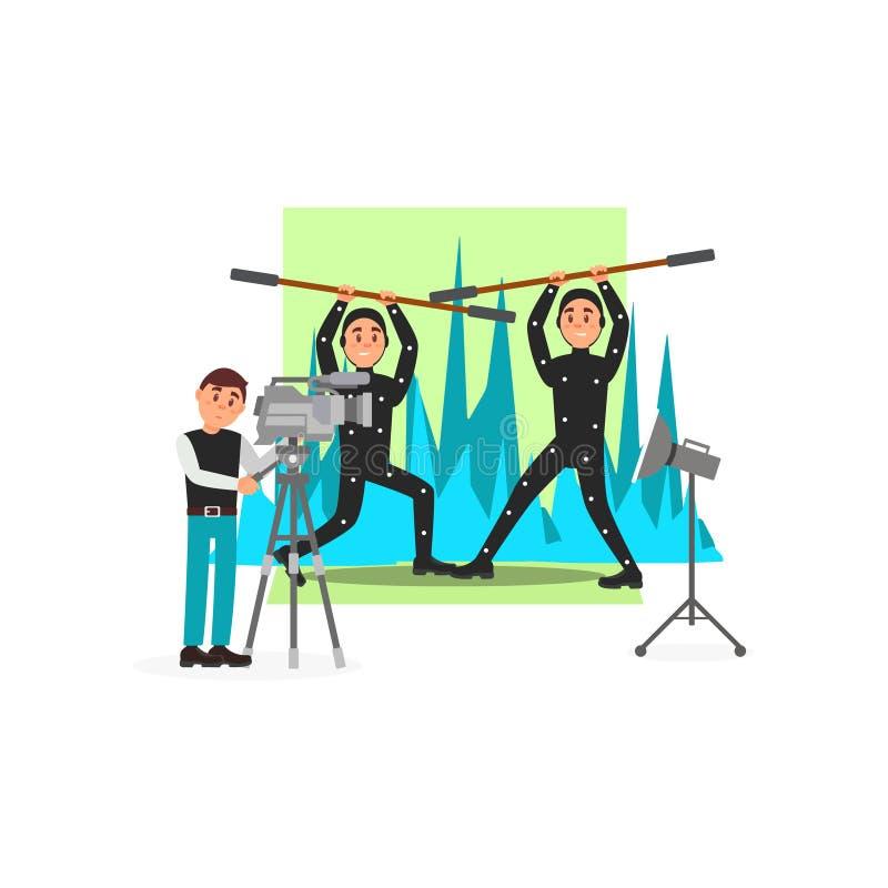 Χειριστής κινηματογράφων και δράστες, βιομηχανία διασκέδασης, κινηματογράφος που κάνουν τη διανυσματική απεικόνιση διανυσματική απεικόνιση