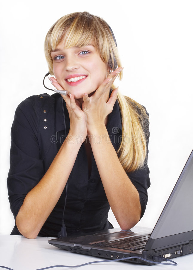 Download χειριστής κοριτσιών στοκ εικόνα. εικόνα από πελάτης, κάσκα - 1540163