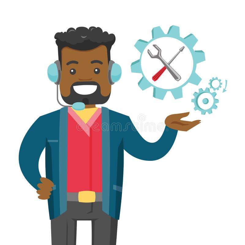 Χειριστής τεχνικής υποστήριξης αφροαμερικάνων ελεύθερη απεικόνιση δικαιώματος