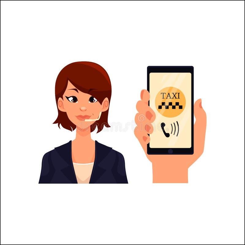 Χειριστής τηλεφωνικών κέντρων, smartphone εκμετάλλευσης χεριών με το ταξί που καλεί app ελεύθερη απεικόνιση δικαιώματος