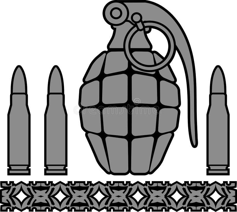 Χειροβομβίδα και σφαίρες διανυσματική απεικόνιση