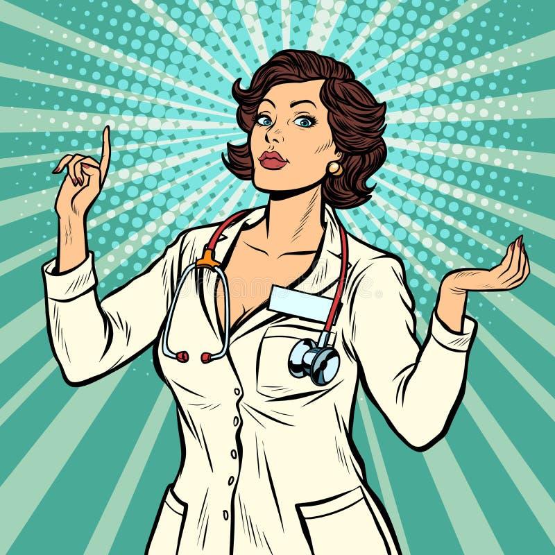 Χειρονομία παρουσίασης γιατρών γυναικών διανυσματική απεικόνιση