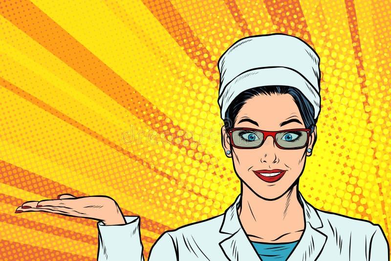 Χειρονομία παρουσίασης χεριών γιατρών γυναικών ελεύθερη απεικόνιση δικαιώματος