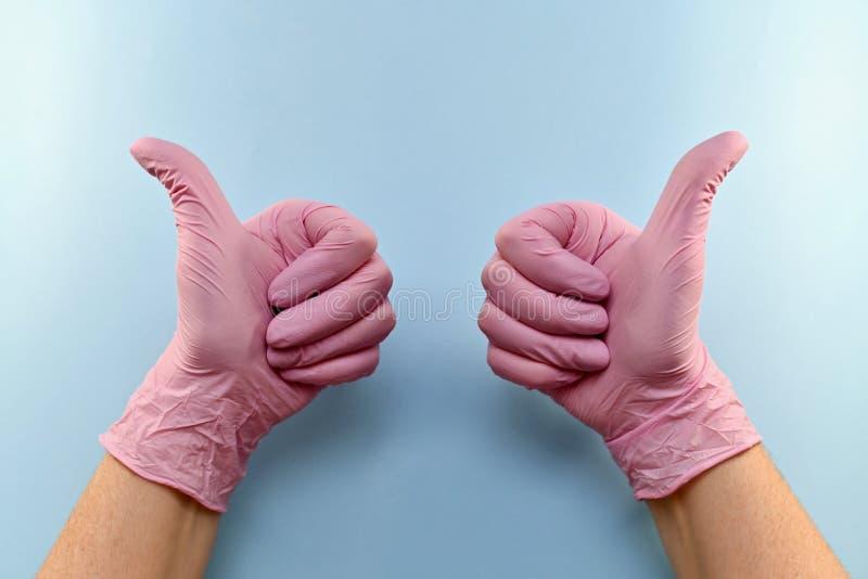 Χειρονομία, ρύγχος, με έναν φορημένο γάντια αντίχειρα επάνω στοκ εικόνες με δικαίωμα ελεύθερης χρήσης