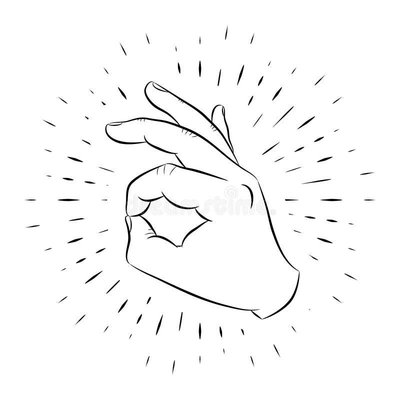 Χειρονομία χεριών, ΕΝΤΑΞΕΙ, hand-drawn, περίληψη, στα πλαίσια των γραμμικών ακτίνων ελεύθερη απεικόνιση δικαιώματος