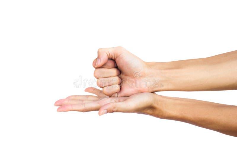 Χειρονομία χεριών η πυγμή που συνθλίβεται στην παλάμη Η δεξιά πυγμή και το αριστερό χέρι ανοίγουν στοκ φωτογραφίες