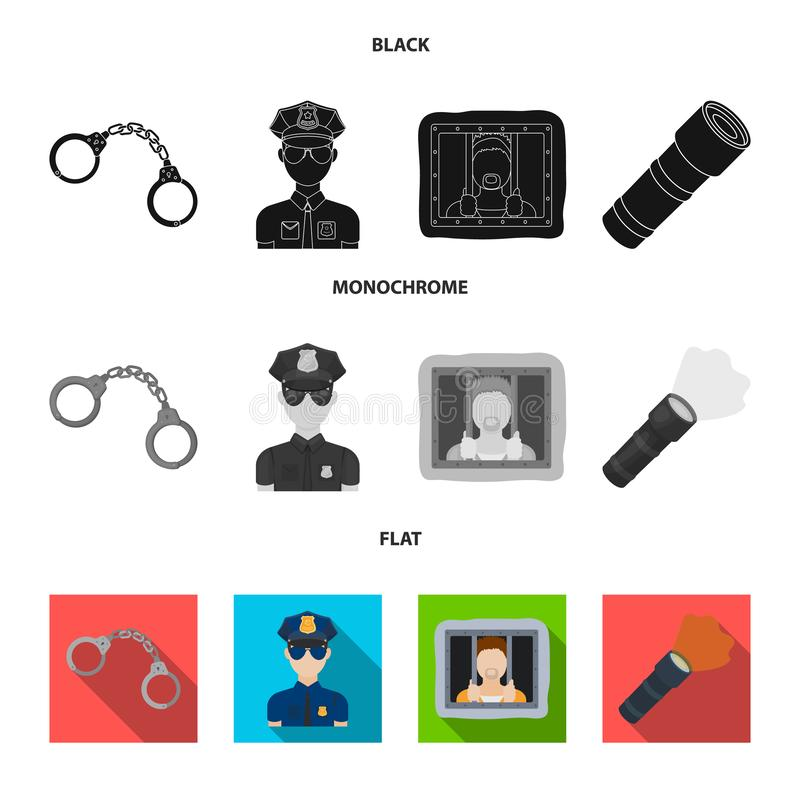 Χειροπέδες, αστυνομικός, φυλακισμένος, φακός Καθορισμένα εικονίδια συλλογής αστυνομίας στο μαύρο, επίπεδο, μονοχρωματικό διανυσμα απεικόνιση αποθεμάτων