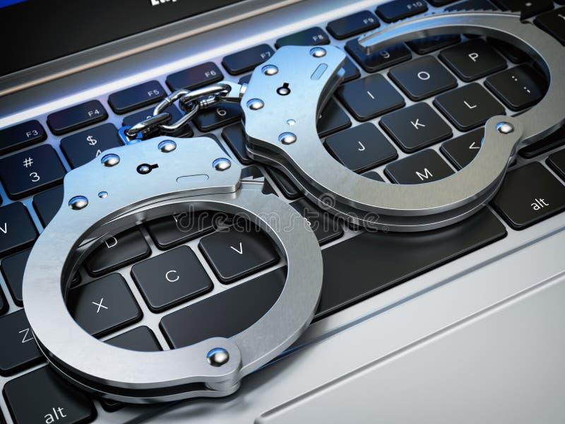 Χειροπέδες στο πληκτρολόγιο lap-top Έγκλημα Διαδικτύου cyber, χάραξη ελεύθερη απεικόνιση δικαιώματος