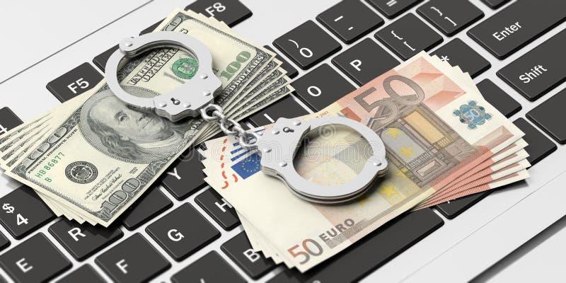 Χειροπέδες, τραπεζογραμμάτια ευρώ και δολαρίων στο πληκτρολόγιο υπολογιστών, τρισδιάστατη απεικόνιση διανυσματική απεικόνιση