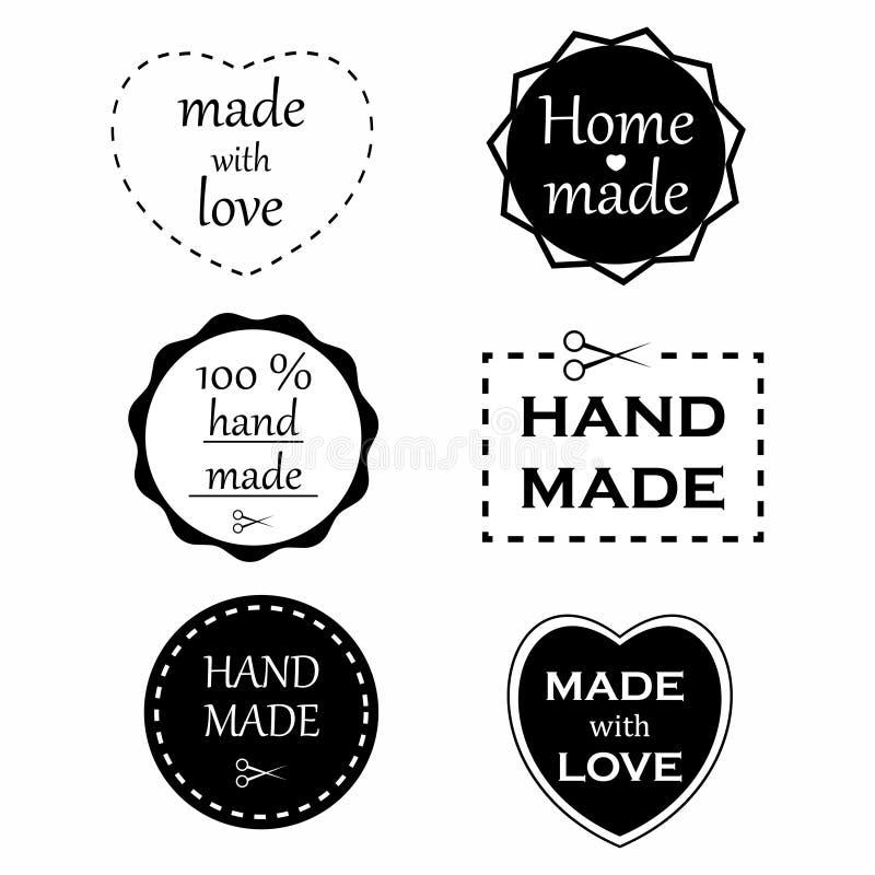 Χειροποίητες ετικέτες Σύνολο χειροποίητων διακριτικών και στοιχείων λογότυπων Γίνοντας με την αγάπη και το σπίτι έκανε τις ετικέτ διανυσματική απεικόνιση