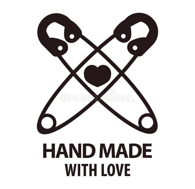 Χειροποίητος με το σχέδιο αγάπης logotype δύο διασχισμένων καρφιτσών ελεύθερη απεικόνιση δικαιώματος