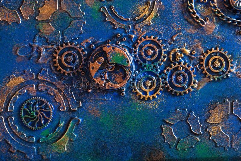 Χειροποίητος steampunk μηχανισμός ροδών βαραίνω υποβάθρου μηχανικός στοκ εικόνα με δικαίωμα ελεύθερης χρήσης