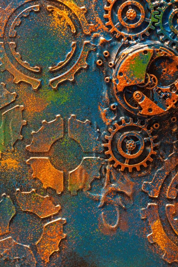 Χειροποίητος steampunk μηχανισμός ροδών βαραίνω υποβάθρου μηχανικός στοκ φωτογραφία με δικαίωμα ελεύθερης χρήσης