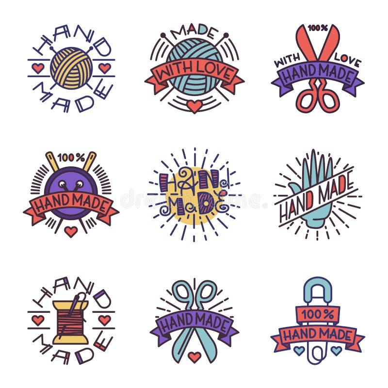Χειροποίητο διάνυσμα λογότυπων διακριτικών ραπτικής απεικόνιση αποθεμάτων