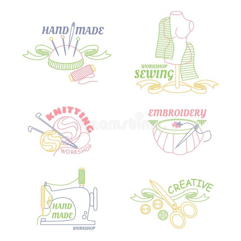 Χειροποίητο λογότυπο εργαστηρίων που τίθεται για ράψιμο ραψίματος ζωγραφικής το διαγώνιο και το πλέξιμο διανυσματική απεικόνιση