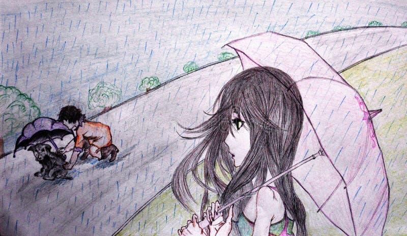 Χειροποίητο σκίτσο ενός κοριτσιού που προσέχει ένα παιδί ένα κουτάβι στη βροχή στοκ εικόνα