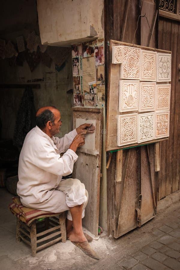 Χειροτεχνικός στην εργασία Μαρακές Μαρόκο στοκ φωτογραφίες