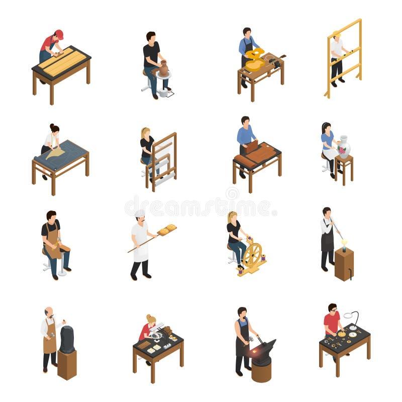 Χειροτεχνικό Isometric σύνολο ανθρώπων ελεύθερη απεικόνιση δικαιώματος