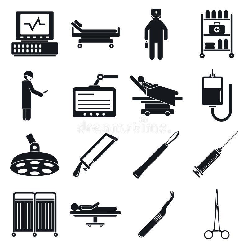 Χειρούργοι που ενεργοποιούν τα εικονίδια εργαλείων καθορισμένα, απλό ύφος απεικόνιση αποθεμάτων