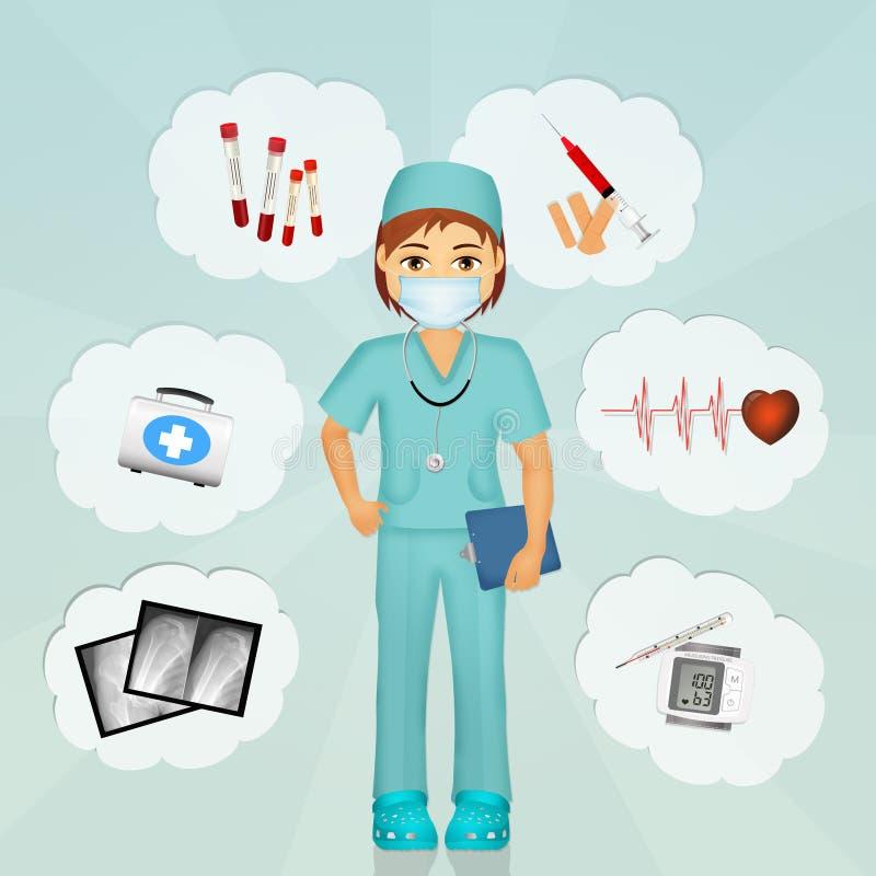 Χειρούργος με τα αντικείμενα νοσοκομείων απεικόνιση αποθεμάτων