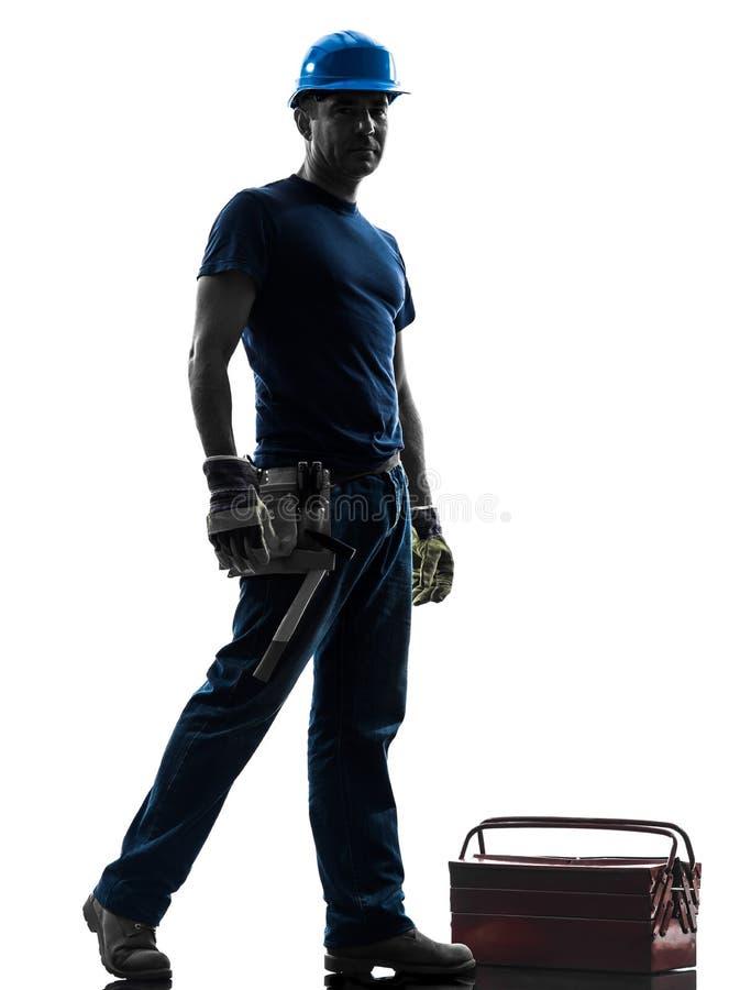 Χειρωνακτική μόνιμη σκιαγραφία ατόμων εργαζομένων στοκ εικόνες με δικαίωμα ελεύθερης χρήσης