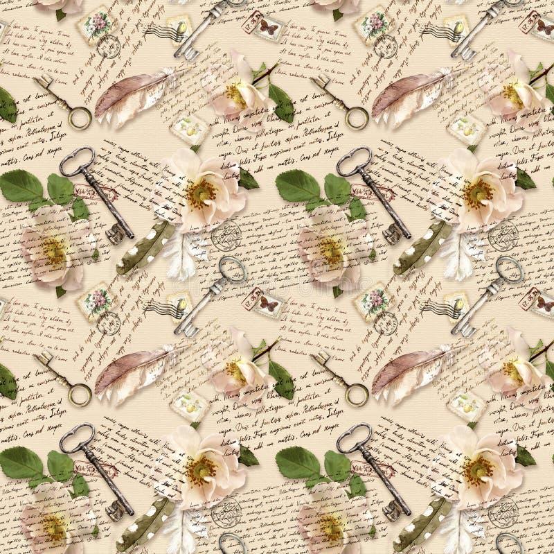 Χειρόγραφες σημειώσεις, άγρια τριαντάφυλλα, ταχυδρομικές σφραγίδες, φτερά watercolor, κλειδιά για το υπόβαθρο εγγράφου Άνευ ραφής στοκ εικόνα