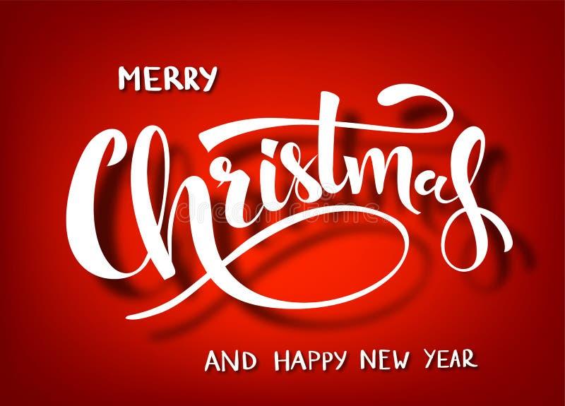 Χειρόγραφη εγγραφή Χαρούμενα Χριστούγεννας Άσπρο κείμενο που απομονώνεται στο κόκκινο υπόβαθρο Τυπογραφία διακοπών Χριστουγέννων  ελεύθερη απεικόνιση δικαιώματος
