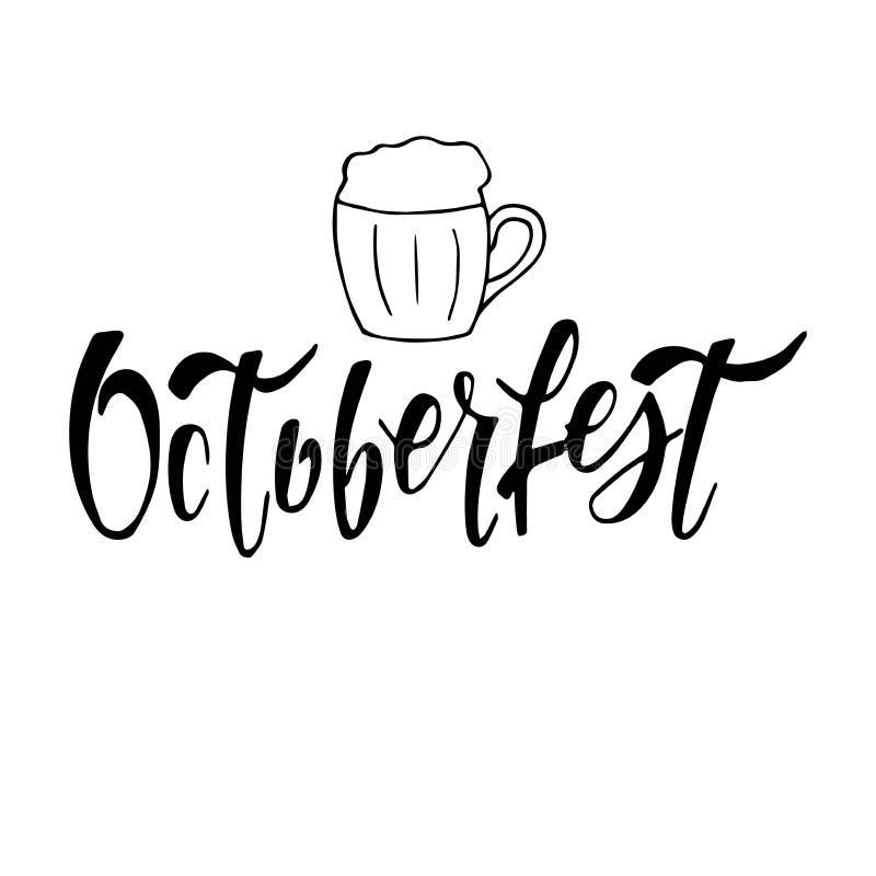 Χειρόγραφη εγγραφή Oktoberfest Διανυσματικό σχέδιο τυπογραφίας για τις ευχετήριες κάρτες και την αφίσα Διανυσματικό έμβλημα φεστι απεικόνιση αποθεμάτων
