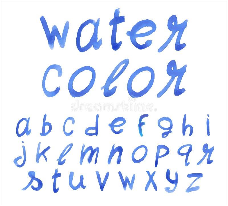 Χειρόγραφη μπλε πηγή Τεχνική Watercolor διανυσματική απεικόνιση