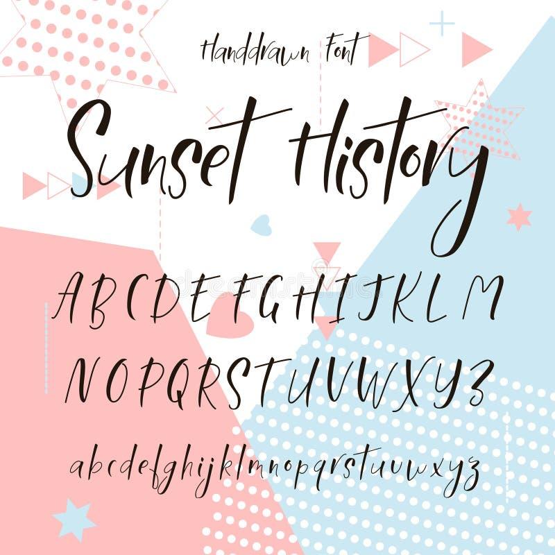 Χειρόγραφη πηγή καλλιγραφίας στοιχεία αλφάβητου που το διάνυσμα συρμένες επιστολές χερ&iota διανυσματική απεικόνιση