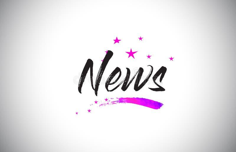 Χειρόγραφη πηγή του Word ειδήσεων με τα δονούμενα ιώδη πορφυρά αστέρια και το διάνυσμα κομφετί απεικόνιση αποθεμάτων