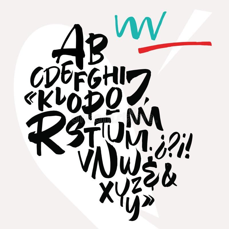 Χειρόγραφη πηγή script Λατινικό καλλιγραφικό σύνολο διανυσματική απεικόνιση