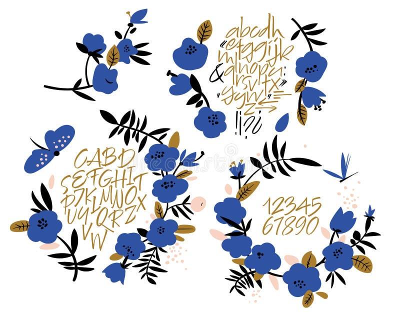 Χειρόγραφη πηγή script Λατινικό καλλιγραφικό σύνολο ελεύθερη απεικόνιση δικαιώματος