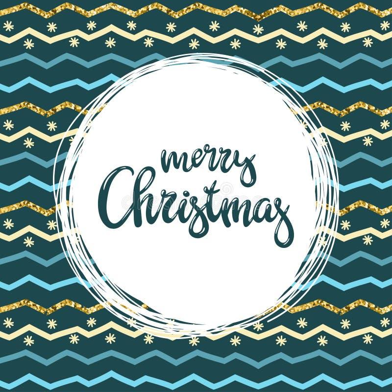 Χειρόγραφη Χαρούμενα Χριστούγεννα επιγραφής και patern με τις ζωηρόχρωμες γραμμές τρεκλίσματος Διανυσματική ανασκόπηση απεικόνιση αποθεμάτων