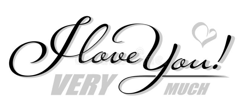 Χειρόγραφο απομονωμένο κείμενο σ' αγαπώ με τη σκιά καρδιών Συρμένη χέρι εγγραφή καλλιγραφίας διανυσματική απεικόνιση