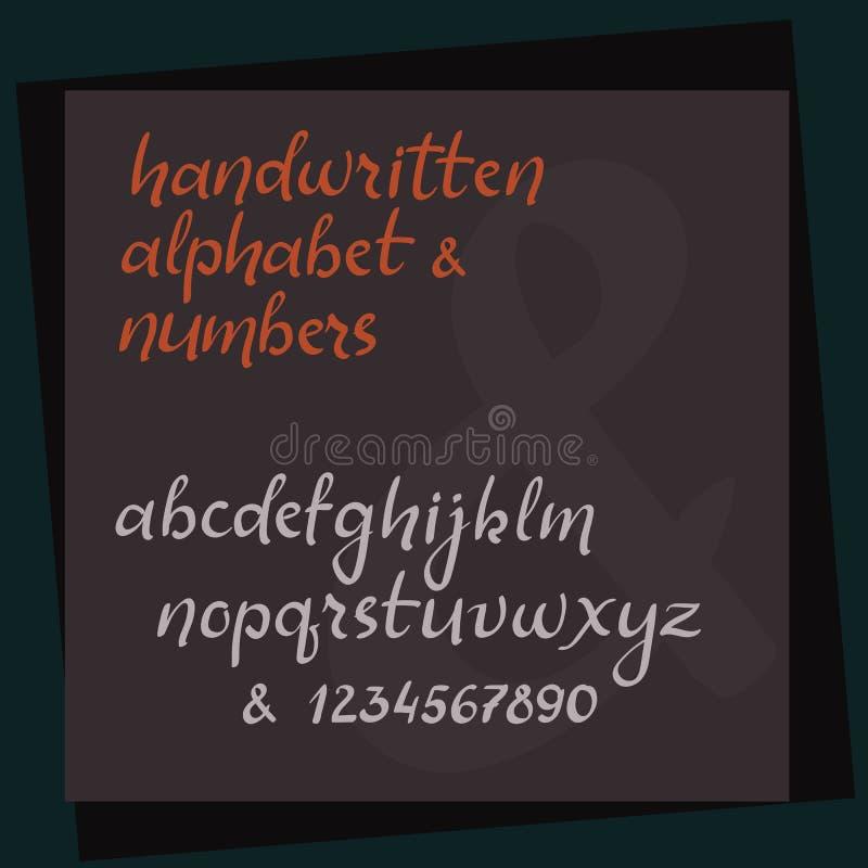 Χειρόγραφο αλφάβητο καλλιγραφίας Διάνυσμα εγγραφής χεριών abc Επιστολές ύφους βουρτσών απεικόνιση αποθεμάτων