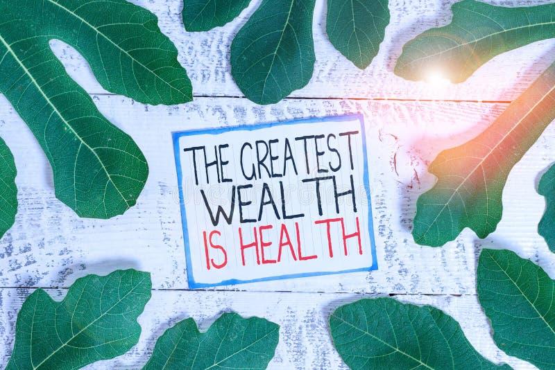 Χειρόγραφο Κείμενο Ο Μεγαλύτερος Πλούτος Είναι Η Υγεία Έννοια που σημαίνει Πολλοί θυσιάζουν τα λεφτά τους απλά για να είναι υγιεί στοκ εικόνες με δικαίωμα ελεύθερης χρήσης