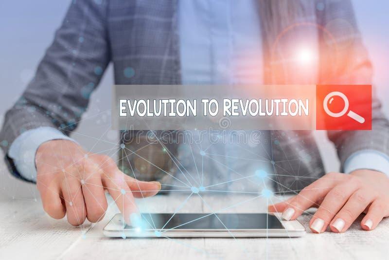 Χειρόγραφο κείμενο που γράφει 'Εξέλιξη στην επανάσταση Έννοια που σημαίνει προσαρμογή στον τρόπο ζωής των πλασμάτων και στοκ εικόνες με δικαίωμα ελεύθερης χρήσης