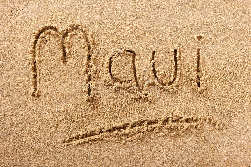 Χειρόγραφο μήνυμα άμμου παραλιών Maui Χαβάη στοκ εικόνα