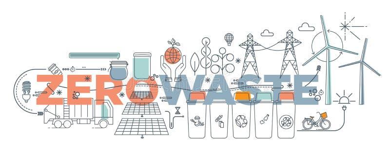 Χειρόγραφο doodle μηδενικά απεικόνιση αποβλήτων διανυσματική απεικόνιση
