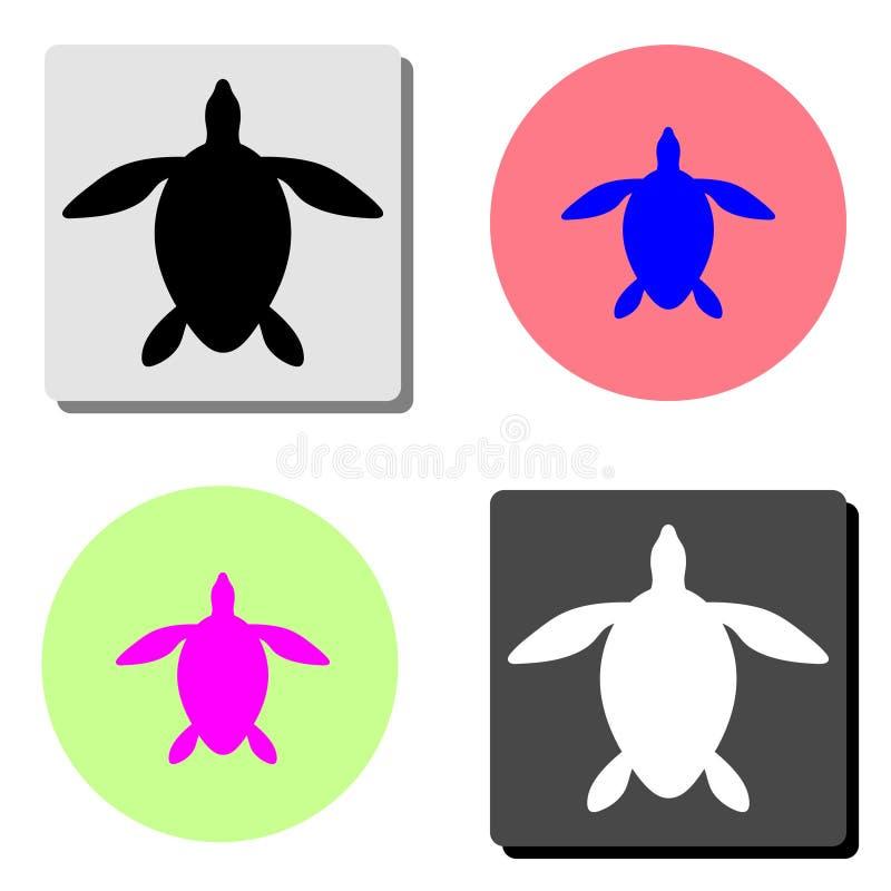 Χελώνα Επίπεδο διανυσματικό εικονίδιο απεικόνιση αποθεμάτων