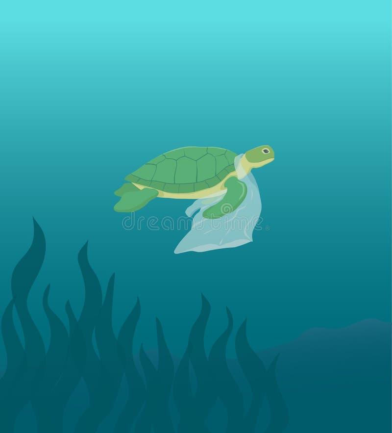 Χελώνα θάλασσας που κολυμπά με τη διανυσματική απεικόνιση πλαστικών τσαντών απεικόνιση αποθεμάτων