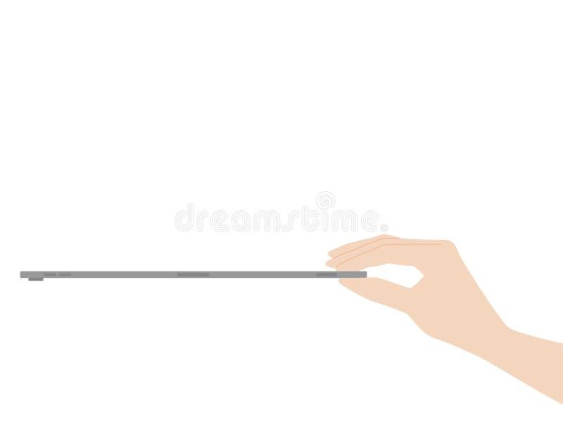 Χεριών σύλληψης νέα ισχυρή τεχνολογία προόδου σχεδίου ταμπλετών νέα απεικόνιση αποθεμάτων