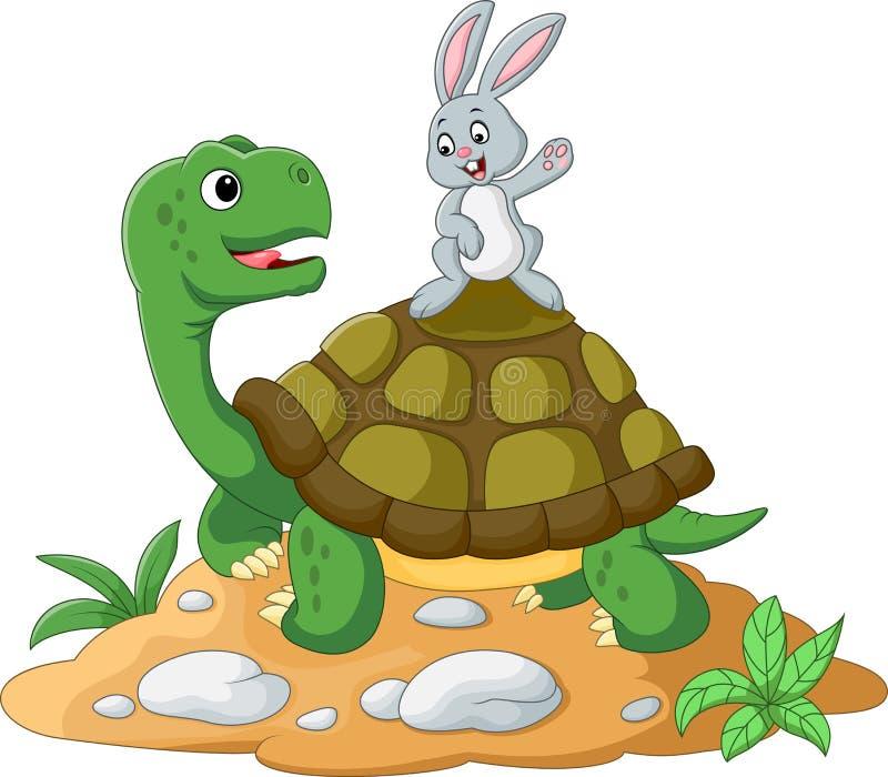 Χελώνα και κουνέλι κινούμενων σχεδίων διανυσματική απεικόνιση