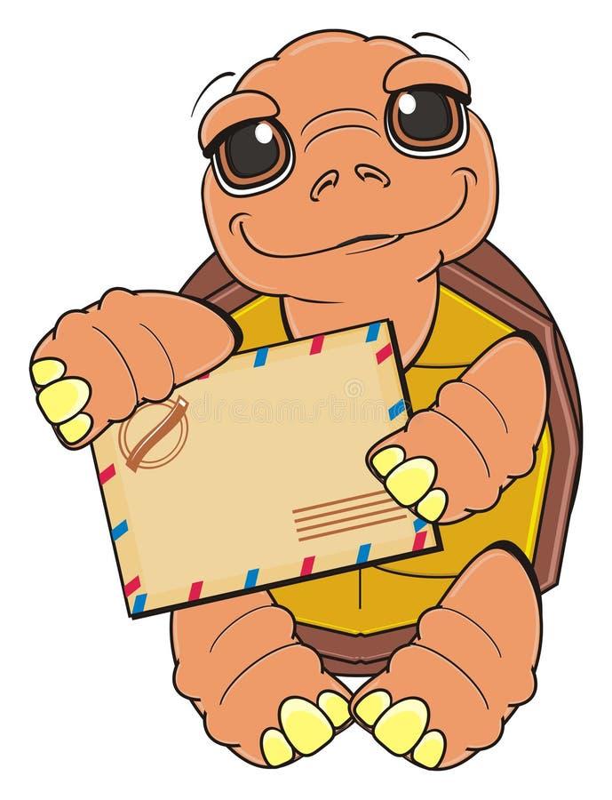 Χελώνα με το φάκελο διανυσματική απεικόνιση