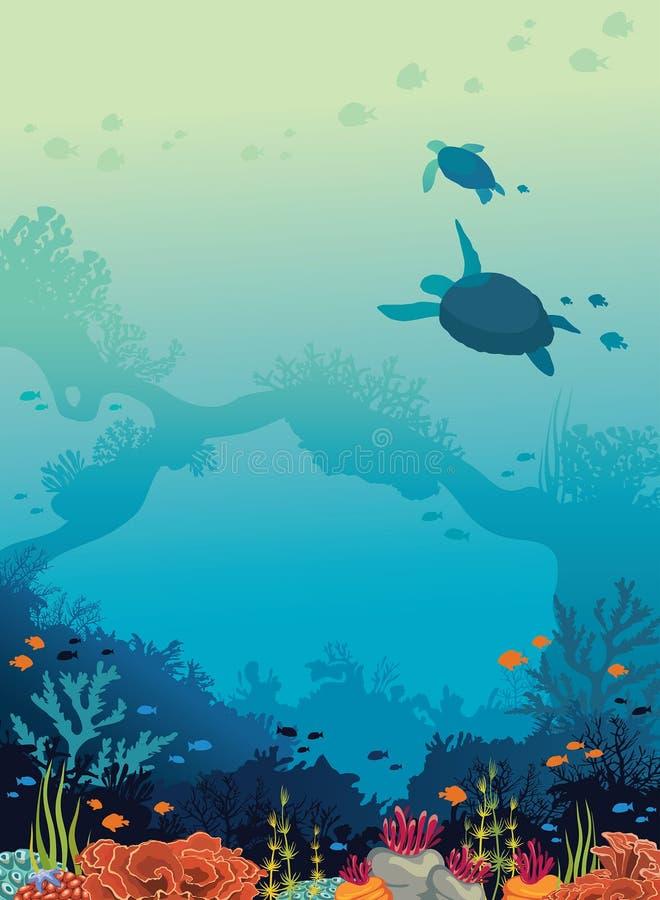 Χελώνες, κοραλλιογενής ύφαλος, ψάρια, υποβρύχια θάλασσα απεικόνιση αποθεμάτων