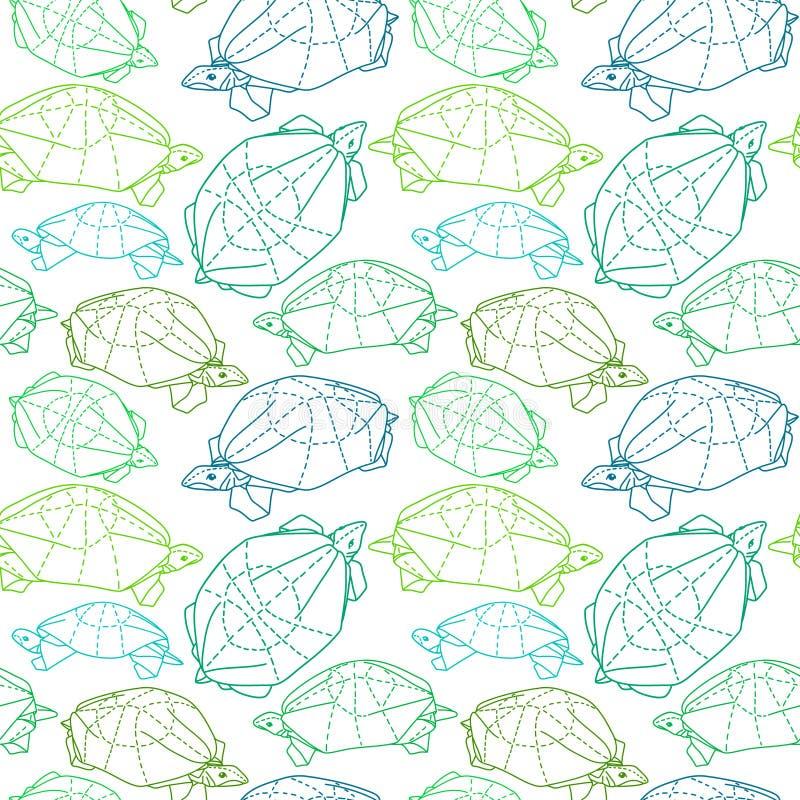 Χελώνες Origami που σύρουν την απεικόνιση απεικόνιση αποθεμάτων