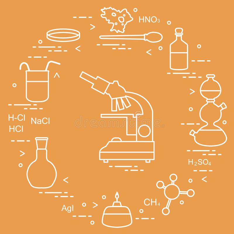 Χημεία επιστημονική, στοιχεία εκπαίδευσης: μικροσκόπιο, Petri πιάτο, dropper, φιάλες, κάμερα Kippa, τύποι, κούπα, καυστήρας, amoe διανυσματική απεικόνιση